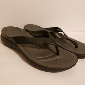 Croc Black Flip Flops size 10